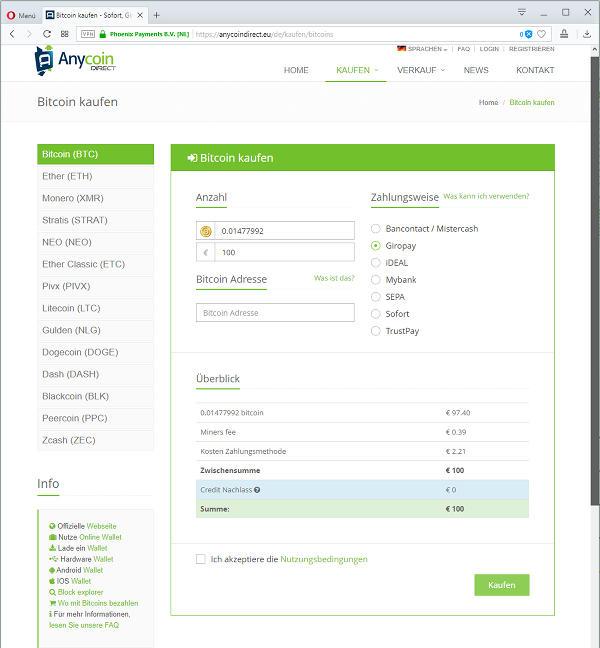 Bitcoins kaufen bei anycoindirect.eu