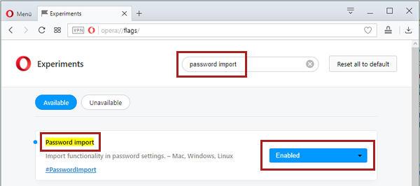 Opera Passwörter importieren - Import-Funktion aktivieren